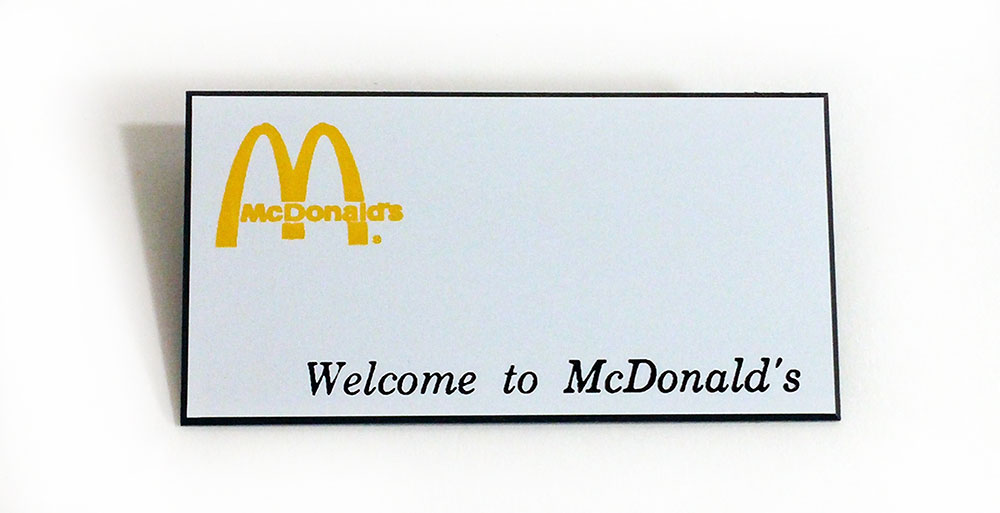 mcdonalds name tags badges 5 pack blanks