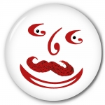 Mustache Smiley Face Button/Fridge Magnet/purse mirror