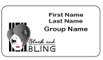 Black and Bling Rectangle Name Badge