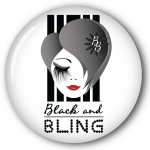Black and Bling Fridge / locker Magnet