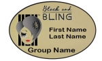 Black and Bling Oval Name Badge