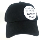 Black and Bling Black Baseball Cap with Button