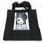 Black and Bling Tall Black Tote