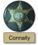 "Connally Name Badge & Sheriff 3"" Button Halloween Costume"