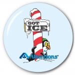 """Got Ice - Albertsons"" 3"" Promotional Pin back Button for Albertsons"