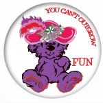Red Hat Button 406 Purple bear in Red Hat - You Can't Outgrow FUN