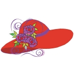 Red Hat with purple flowers arwork 118