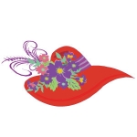 Red Hat with purple flowers and ribbon arwork 125