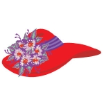 Floppy red hat artwork with purple and pink flower design